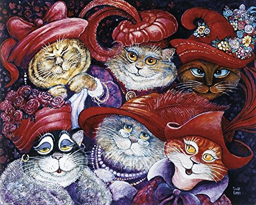 Great Art Now Red Hat Cats by Bill Bell Art Print, 10 x 8 inches Cat Hat Art
