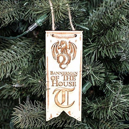 Ornament - Bannerman of the House Targaryen - Raw Wood 2x5in