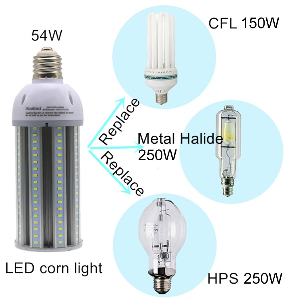 54W Led Corn Light Bulb for Indoor Outdoor 6700lumen E39 Base ...