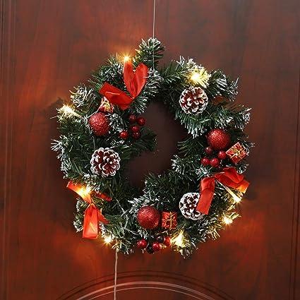 Ghirlanda Natalizia Ghirlanda natalizia decorativa Ghirlanda natalizia con cono di pino Corona artificiale per porta dingresso per parete camino da giardino Ghirlande Natalizie per Porta