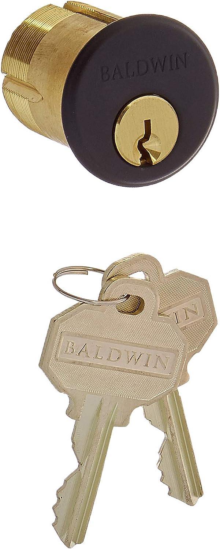 "Baldwin 8325 1-1/2"" Mortise Cylinder C Keyway, Satin Black"