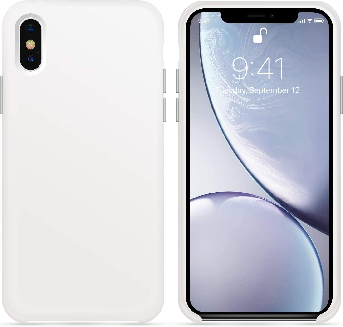 for iPhone X XS Case, OTOFLY [Silky and Soft Touch Series] Premium Soft Button Silicone Rubber Full-Body Protective Bumper Case Compatible with Apple iPhone X/iPhone Xs 5.8 inch, (White)