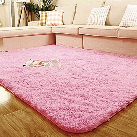 Bath Rugs Square Big Anti-skid Shaggy Area Carpet Rug For your home Pink (Big Circle White Fur Rug)
