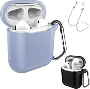 AirPods Case Keychain, Coffea 2 Pack Protective Silicone Case Cover and Skin with Anti-Lost Strap for AirPods 1 & 2 Charging Case (Black+Grayish Blue)