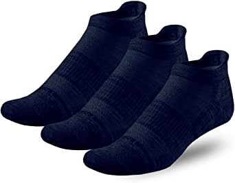 Compression No-Show Athletic Merino Wool Running Socks, Made in USA, 3 Pairs (Large shoe size [Men:9-11, Women:10-12], Navy)