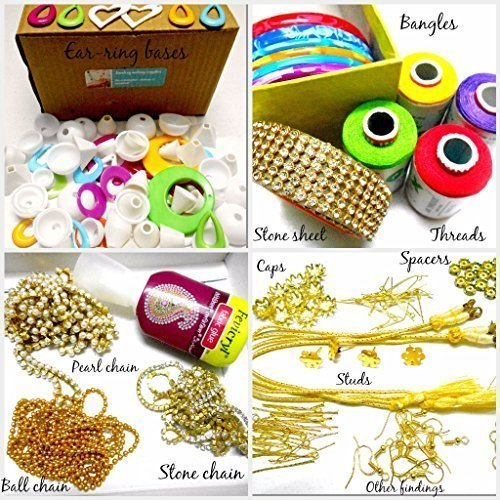 - GOELX Silk Thread Jewelery-Making Fully Loaded Box With All Accessories. threads colorful Bangles,decorative chains,flower ear studs,all findings,stone lace,spacers,earring bases and lot more!!