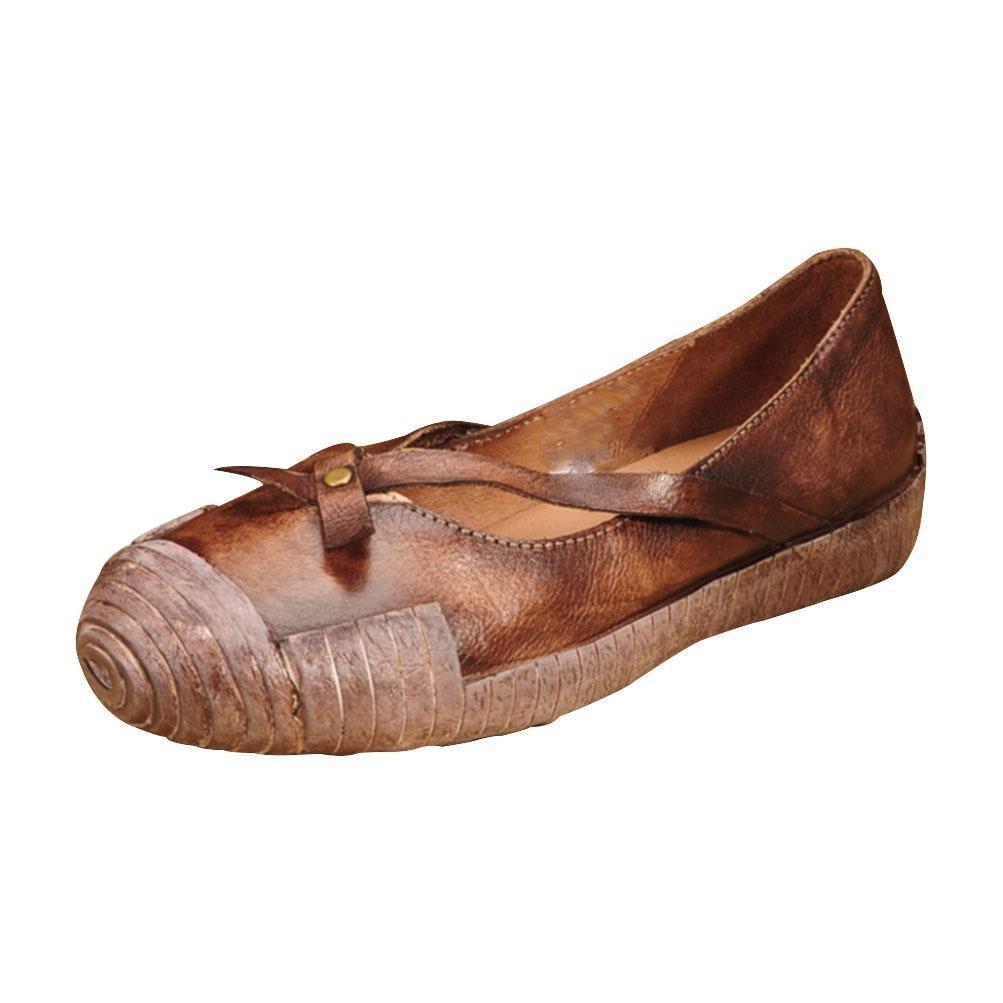 QPYC Damen Shallow Mouth Echtes Leder Schuhe Freizeit Flache Mit Retro Einzelnen Schuhe Rindsleder Quadratischen Kopf Flache Stiefel , braun , 36