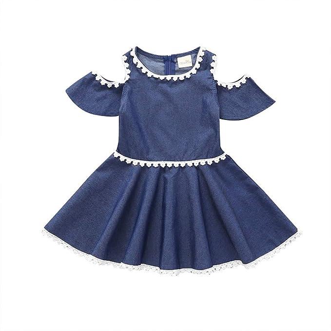 Waotier Vestido Para Niñas Vestido Denim De Encaje Con Manga
