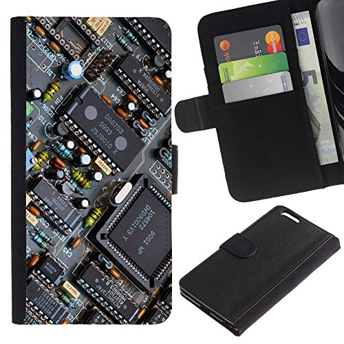 Funny Phone Case // Cuir Portefeuille Housse de protection Étui Leather Wallet Protective Case pour Apple Iphone 6 PLUS 5.5 /PCB Chipset Transistors/