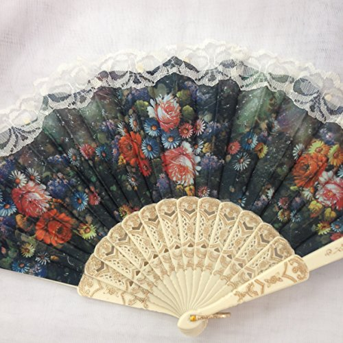 Spanish Fan Vintage Inspired Victorian Flower Lace Summer Fan for Vintage Wedding Party Decor /Dancing Hand Fan/table Setting /Wall (Spanish Lace Top)