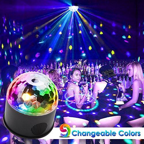 KOOT Disco Ball Lights, 9 Colors Sound Activated Crystal Magic Ball Lights DJ Light for Halloween Christmas Bar Karaoke Club Wedding -