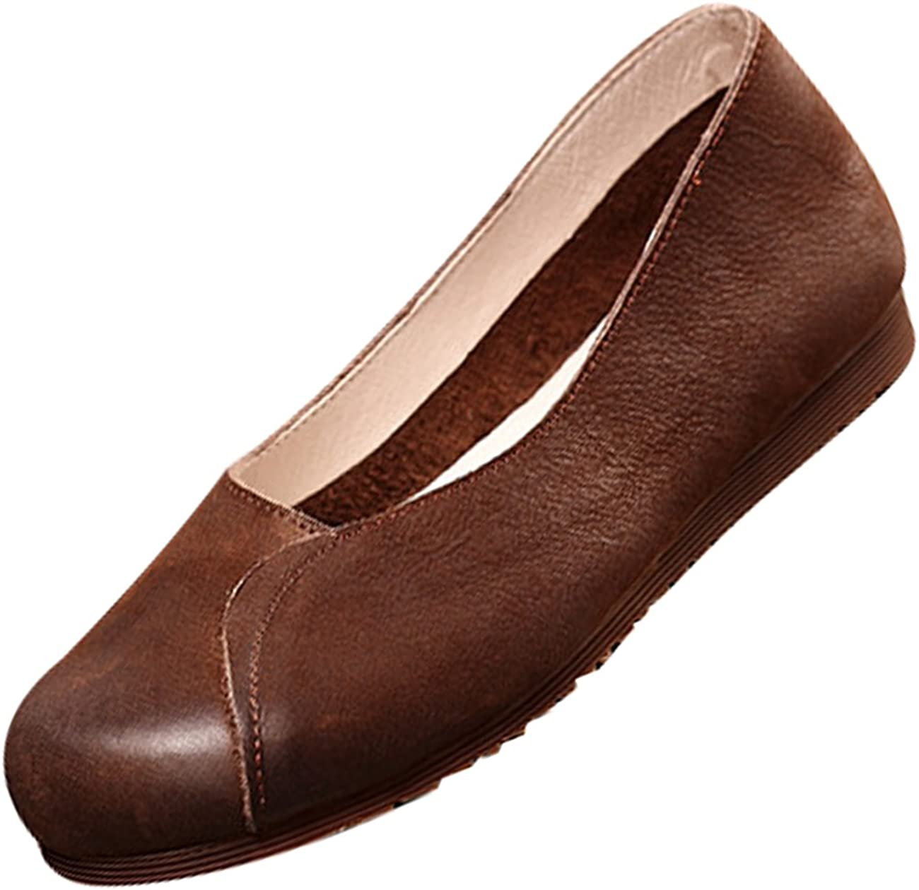 Zoulee Womens New Leather Handmade Flats Shoes Exquisite Suture Ballet Flat Shoes