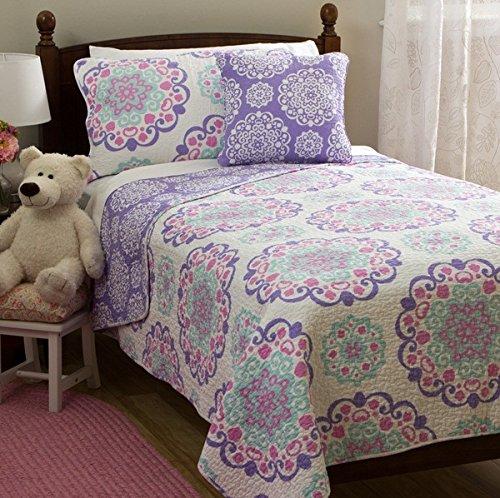 3 Piece Girls Medallion Quilt Twin Set, Cute All Over Flowers Mandala Motif Bedding, Multi Floral Heart Swirls Pattern, Bohemian Boho Chic Flower Themed, White Teal Blue Lavender Plum Violet Pink