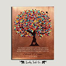 16x20 Mounted Canvas Faux Copper 7th Wedding Anniversary Gift Perfect For Each Other Personalized Husband Wife Couple Colorful Fruit 1st First 2nd 10th Wedding Tree Birthday Thank You Custom Art Print