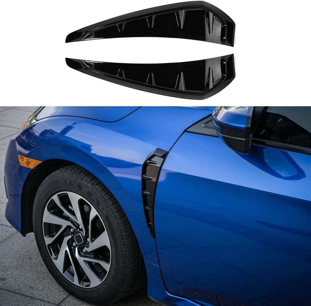 Black Thenice 10th Gen Civic Fender Decoration Panel Trim Side Bumper Decals Type R Style for Honda Civic 2020 2019 2018 2017
