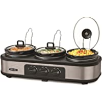 Bella 3 Hot Pot Electric Slow Cooker | Multifunctional Triple Crock Pot Food Warmer, Buffet Server & Bain Marie | Multicooker with 3 Large 1.3 Litre Stoneware Pots with lids & 3 Heat Settings