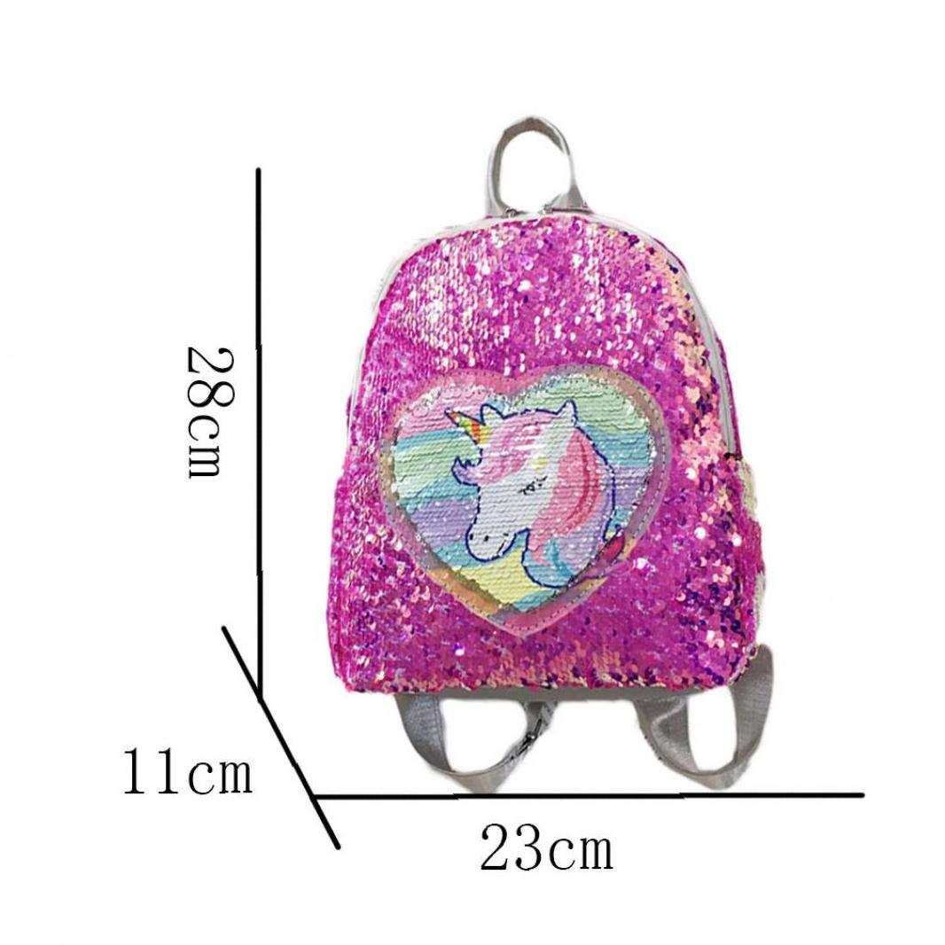 Brillo del Unicornio Mochila para Las Ni/ñas De Las Lentejuelas Bolso De Escuela Brillante Mochila Viajes Ocasionales para Las Mujeres Adolescentes