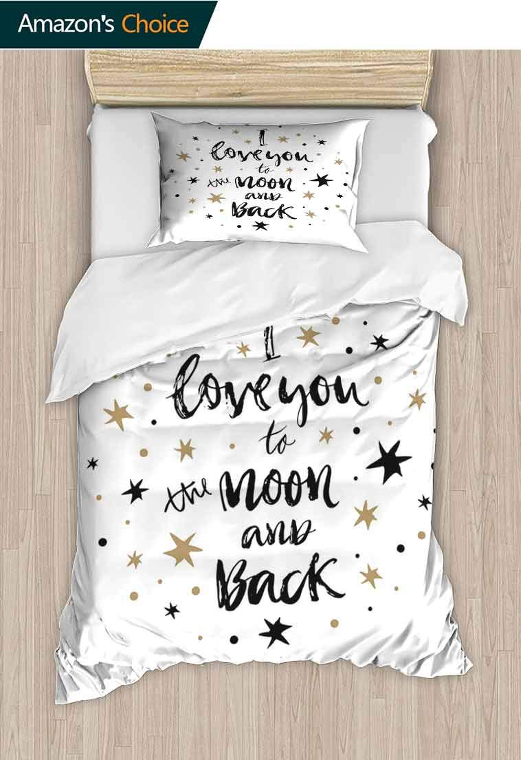I Love You Diy Quilt Cover and Pillowcase Set, Hand Drawn I Love You to the Moon and Back Quote Stars Valentines Celebration, Duvet Cover with Pillowcases Child Bedding Sets 2 Piece Cocoa Black