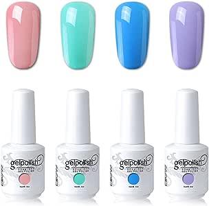 Elite99 UV LED Gel Nail Polish Varnish 15ML Soak off Nail Art Manicure Set 4 Colors with (20pcs Gel Remover Wraps) C191
