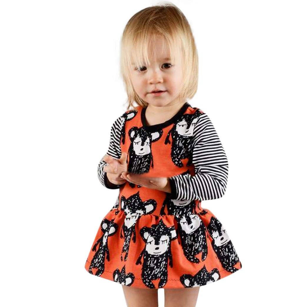 Toddler Baby Girls Clothes Sets for 18 Months-5T,Lovely Long Sleeve Onesies Animal Print Striped Skirt Princess Dress Outfit (18-24Months, Orange)