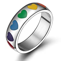 Vnox Jewelry Gay & Lesbian Pride Stainless Steel Enamel Rainbow Heart Ring,6mm Wide,Size 6 to 12