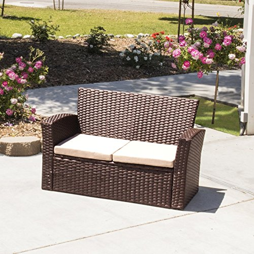 Resin Wicker/Auburn Rattan Patio Settee with Armrests, Loveseat, Sturdy and Long Lasting Stainless Steel Frame Construction, Deep Seating, Weather-, Water-, UV-, Mildew-, Rust-Resistant, 2 Cushions ()