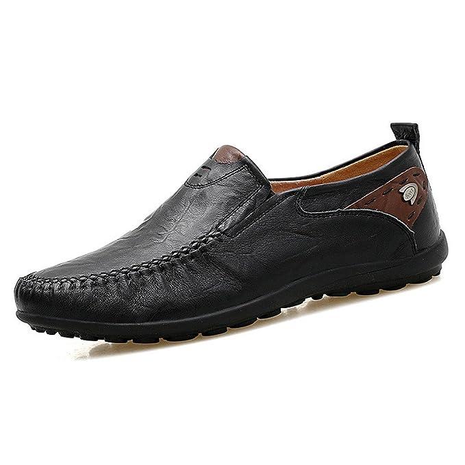 Bridfa Mocasines de cuero suave para hombres Zapatos ocasionales hechos a mano Mocasines para hombres Zapatos planos de cuero cómodos para hombres: ...