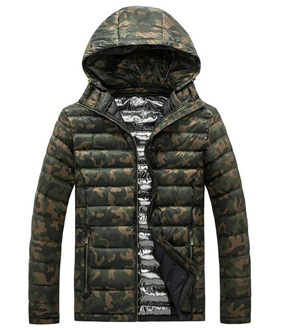 X-Future Mens Camo Quilted Hooded Outdoor Windproof Thicken Puffer Down Jacket