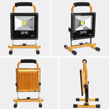 Hengda/® 30W Warmwei/ß Akku LED Fluter Au/ßen leuchte IP65 Strahler ragbare Wiederaufladbare Camping Lampe