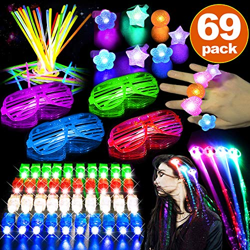 69 Pack 2019 New Year Party Light Up Toys Party Favors for Kids Adult Glow in the Dark Christmas Party Supplies 4 LED Glasses 36 Glow Stick 20 Finger Lights 3 LED Light Up Hair 6 LED Light Up Ring