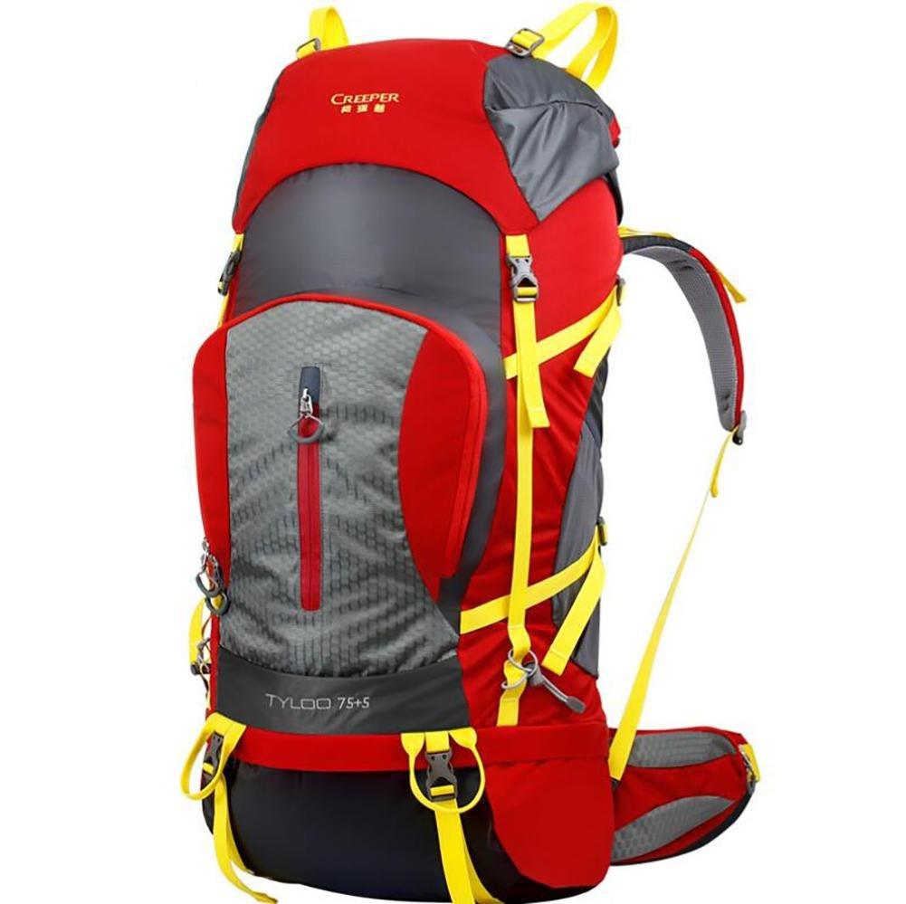 80l Professionalアウトドア登山バックパックShouldersハイキング防水メンズandレディース旅行キャンプ登山バッグ  レッド B06Y66P998