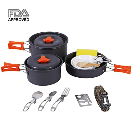 1e051236860 REDCAMP 13-piece Camping Cookware Set for 2-3 Person