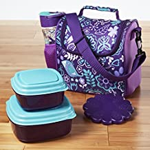 Fit & Fresh 8001KFF911 Melissa Insulated Kids Lunch Bag Kit with Reusable Water Bottle & Chilled Container Set, Purple Aqua Woodstock