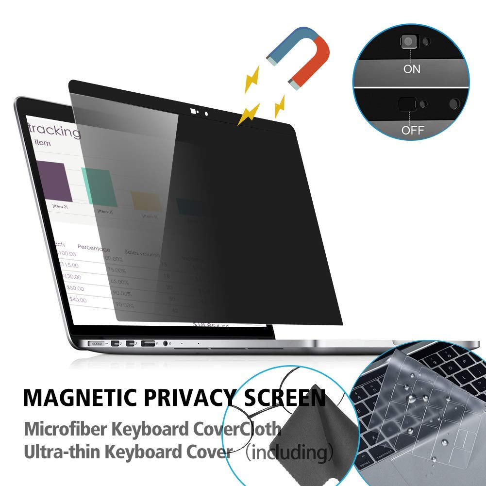 MacBook Pro 13 A1932 A1706 A1708 MacBook Pro 13 Privacy Screen【Webcam Cover】【TPU Keyboard Cover】 Anti-spy/&Anti-Glare Film Compatible New 2018 MacBook Air 13