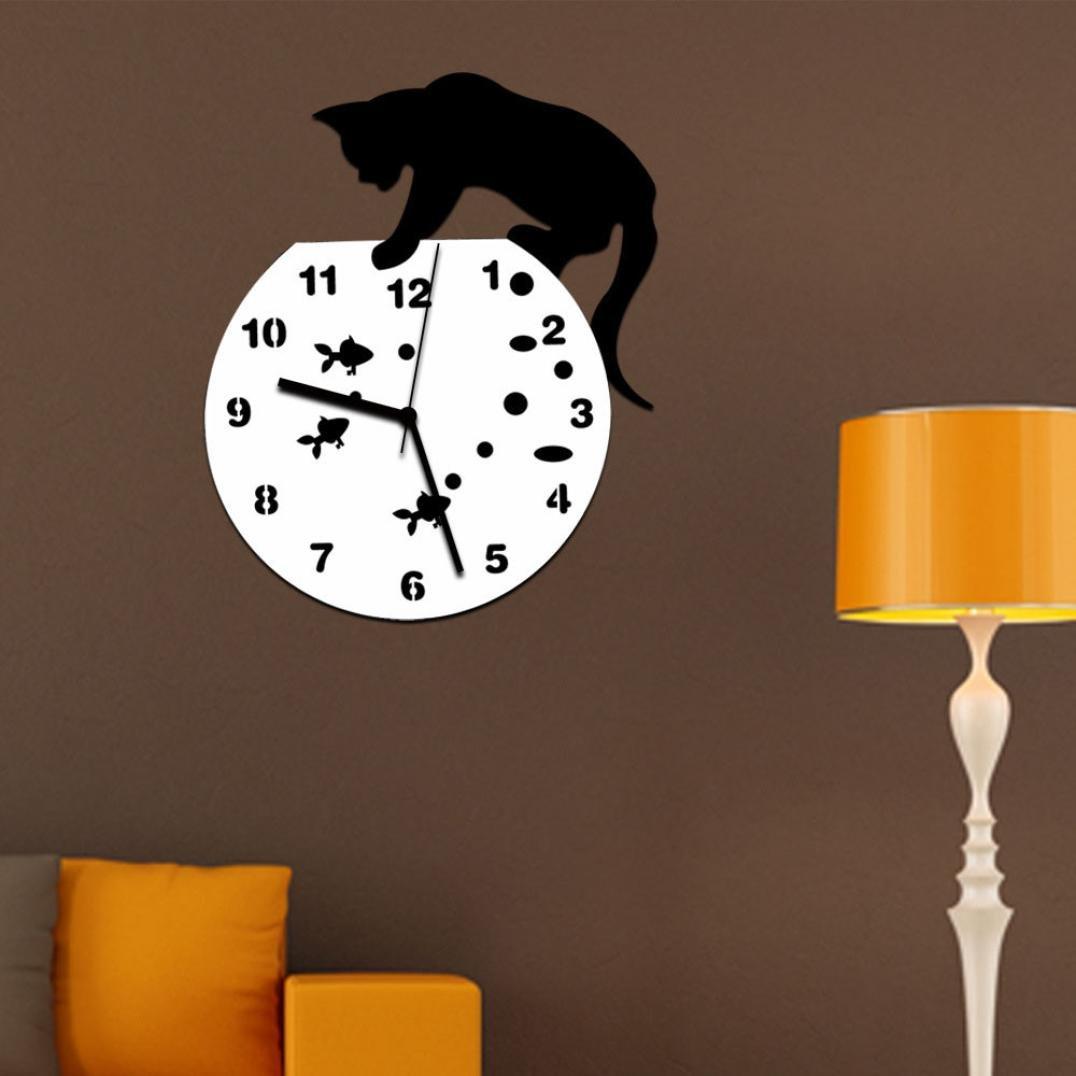 Rumas® Naughty Cat Acrylic Clock Mirror Wall Sticker, Home Decor, Removable Environmental Art Mural, Battery Operated (Black)