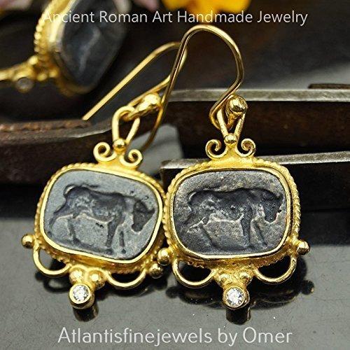 Handcrafted Oxidized Bull Coin Earrings 925 k Silver Roman Art Jewelry 24k Yellow Gold Vermeil Turkish Handmade Jewelry