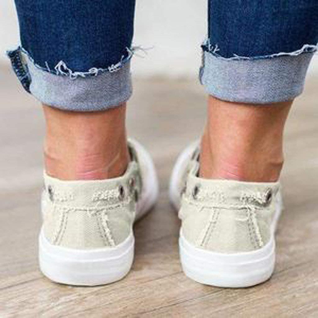 Riou Zapatillas de Deportivos de Running para Mujer Zapatos de Lona Fondo Plano de Gran tama/ño Ligero y Comodo Zapatos Casuales con Zapatillas de Deporte Ligero Sneakers 35-43
