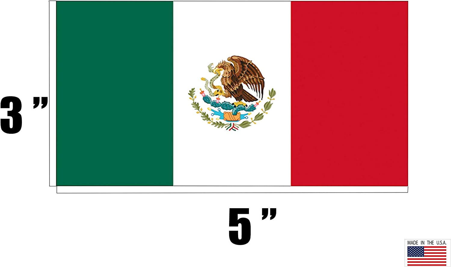 Rogue River Tactical Pack of 4 Mexico Mexican Flag Auto Car Decal Bumper Sticker Truck Boat RV Window 5x3 Inch Rectangle