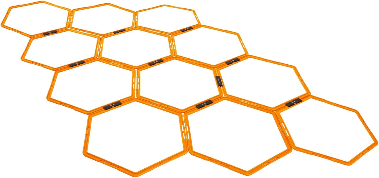 Max4out Hexagonal Speed Agility Training Rings Set of 12 Rings Sport Equipment Training Ladder Set : Sports & Outdoors