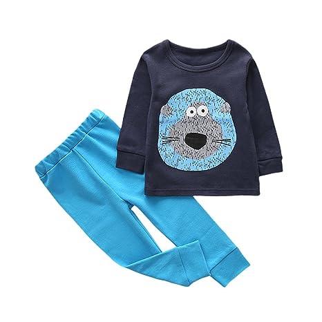 feiXIANG Ropa de bebé niño niña bebé niña niños Dibujos Animados Estampado Animal Camisa + Pantalones