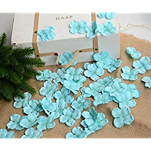 Hydrangea Petals Artificial Silk Pincushion Petal Flower Bridal Shower Favors for Wedding Party Supplies Table Floor Decoration Centerpieces Confetti (170, Tiffany Blue) 1