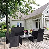 Cloud Mountain 4 Piece Rattan Furniture Set Patio Conversation Set (Small Image)