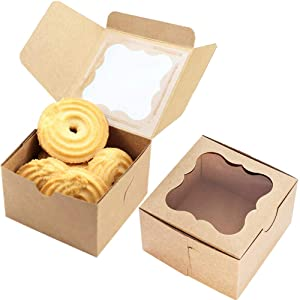 JOERSH 50-Pack Bakery Cookie Boxes with Window, Food Grade Brown Kraft Paperboard Pastry Boxes for Packaging Mini Cakes, Cookies, Candys, Handmade Soaps Party Favor Boxes