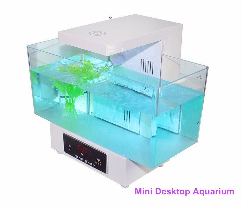 nelle promozioni dello stadio Cutepet Aquarium LCD Desktop Lampada Luce Fish Tank Mini USB USB USB 25.3 X 16.3X20.8 Cm FA-30198,bianca  prima i clienti
