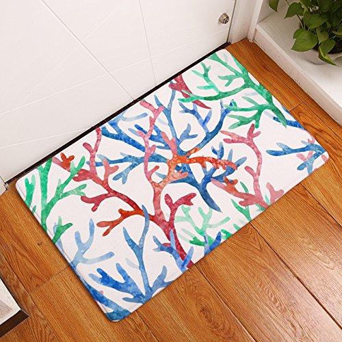 YQ Park Decorative Floor Mats Watercolor Seagrass Door Mat All Seasons Entrance Carpet Shoes Scraper Machine Washable Carpet 19.7X31.5 ()