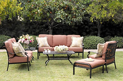Darlee St. Cruz 6-Piece Deep Seating Conversation Set/Cushions and 21-Inch Square End Tables/21-Inch by 42-Inch Coffee Table, Antique Bronze - Weather-Resilient cast aluminum construction; Powder-Coated with elegant multi-step hand finish Spicy chili-colored seat cushion made of 100-percent polyester Deep seating fully welded, tables assembly required - patio-furniture, patio, conversation-sets - 61gfeDoD4lL -