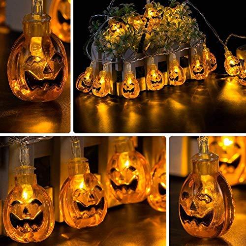Jhua 20-LED Orange Pumpkin Lights 80inches 3D Pumpkin LED String Light Powered by Battery LED Fairy String Lights for Halloween Christmas Festival Decoration Lanterns Lights String]()