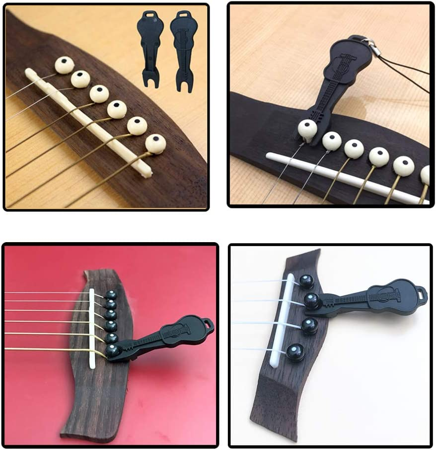 Plastic Acoustic Guitar Bridge Pins Pegs-6pcs with 1pc Bridge Pin Puller Remover Guitar Parts Replacement Tool-Black