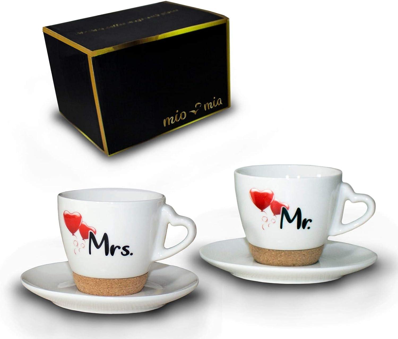Mr & Mrs – Regalo para Pareja Nupcial/Set de Regalo de Boda/Tazas de Café Set con Corcho (Platillo)