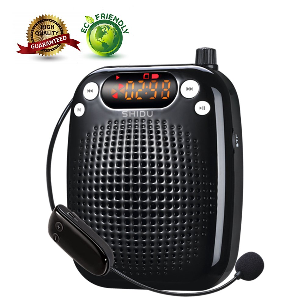Voice Amplifier, SHIDU Wireless Voice Amplifier 10W Rechargeable Portable PA System Speaker with UHF Wireless Microphone Headset Support MP3 Play for Teachers, Yoga, Tour Guides, Outdoor Trainers by SHIDU